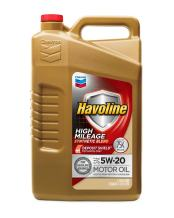 Havoline 5W20 High Mileage Synthetic Blend, 5 Quarts, 1 Pack
