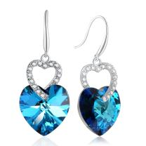 PLATO H Double Love Heart Earrings Crystals from Swarovski for Women Girl with Exquisite Gift Box Dainty Jewelry Anniversary Gift for Mother's Day