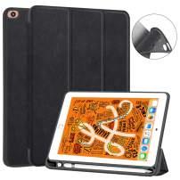 JUQITECH iPad Mini 5 Case, iPad Mini 4 7.9 Smart Case with Apple Pencil Holder Auto Sleep/Wake Flexible Soft TPU Back Shell Magnetic Protector Folio Stand Case Cover for iPad 7.9 Mini 5 2019, Black