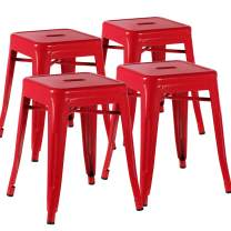 VECELO Metal Dining Chair / 18'' Stackable Indoor-Outdoor Counter / Bar Stools with Industrial Style, Set of 4 - Red