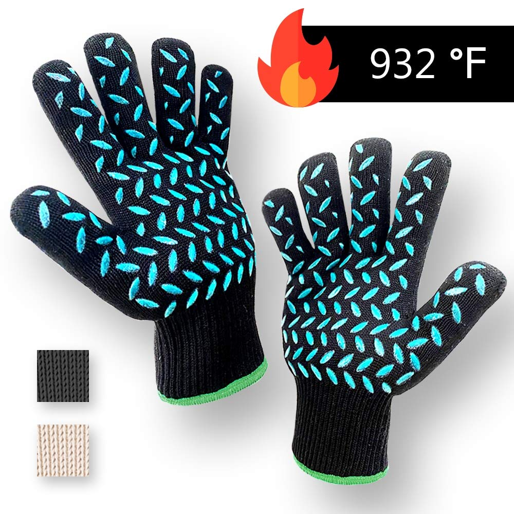 1 PAIR Heat Resistant Gloves Oven Gloves Heat Resistant Black BBQ Gloves For Grilling BBQ Gloves Heat Resistant Cooking Heat Resistant Gloves Kitchen Heat Gloves High Temp Grill Gloves with Silicone