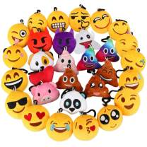 "Dreampark Emoji Keychain, Emoji Plush Key Chain Bulk Toy Hallween Birthday Party Favors Supplies, Treasure Box Rewards Carnival Prizes for Kids Boys and Girls, 2"" Set of 30"