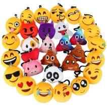 "Dreampark Emoji Keychain, Emoji Plush Key Chain Bulk Toy Hallween Birthday Party Favors Supplies, Treasure Box Rewards Carnival Prizes for Kids Boys and Girls, 2"" Set of 30"
