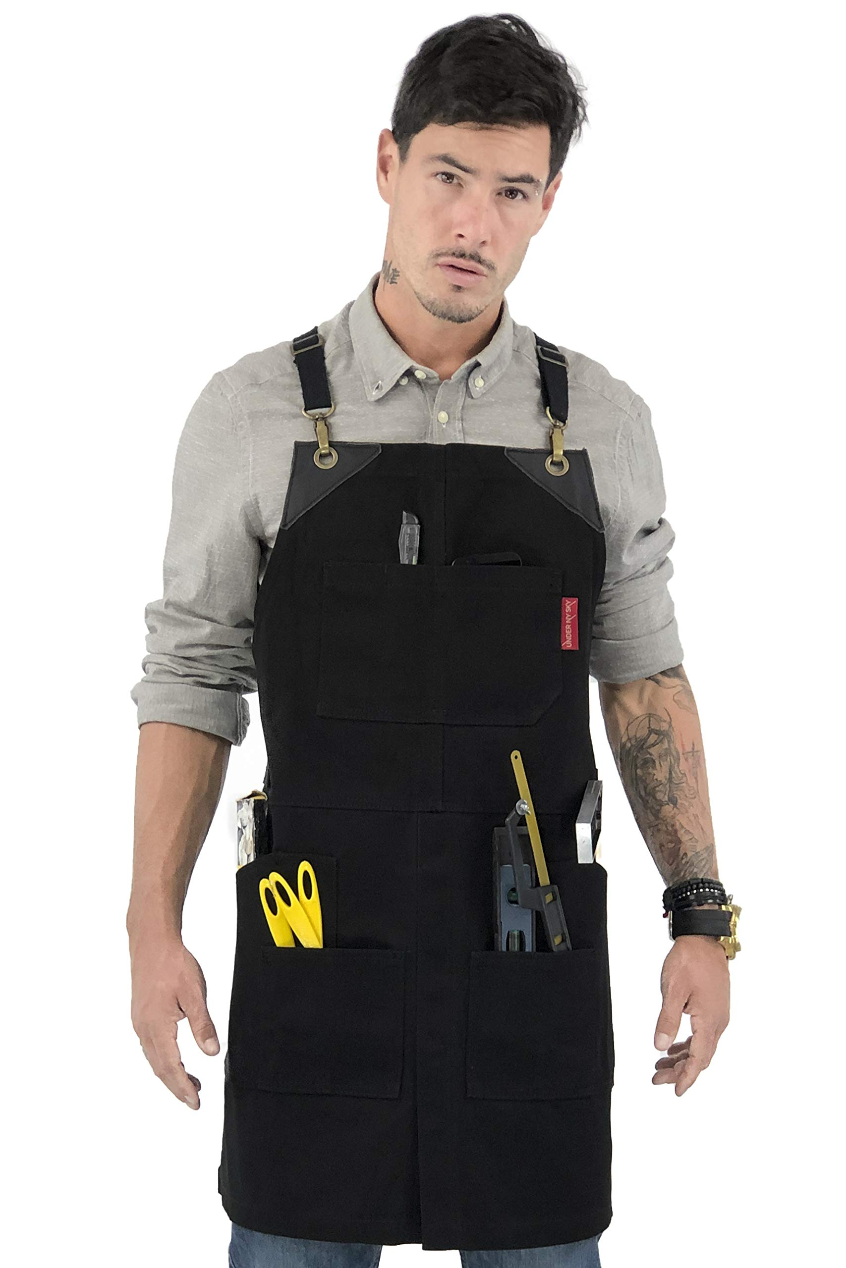Under NY Sky Cargo Ink Black Apron – Cross-Back with Heavy-Duty Waxed Canvas, Leather Reinforcement and Split-Leg – Adjustable for Men and Women – Pro Woodworker, Mechanic, Welder, Artist Aprons