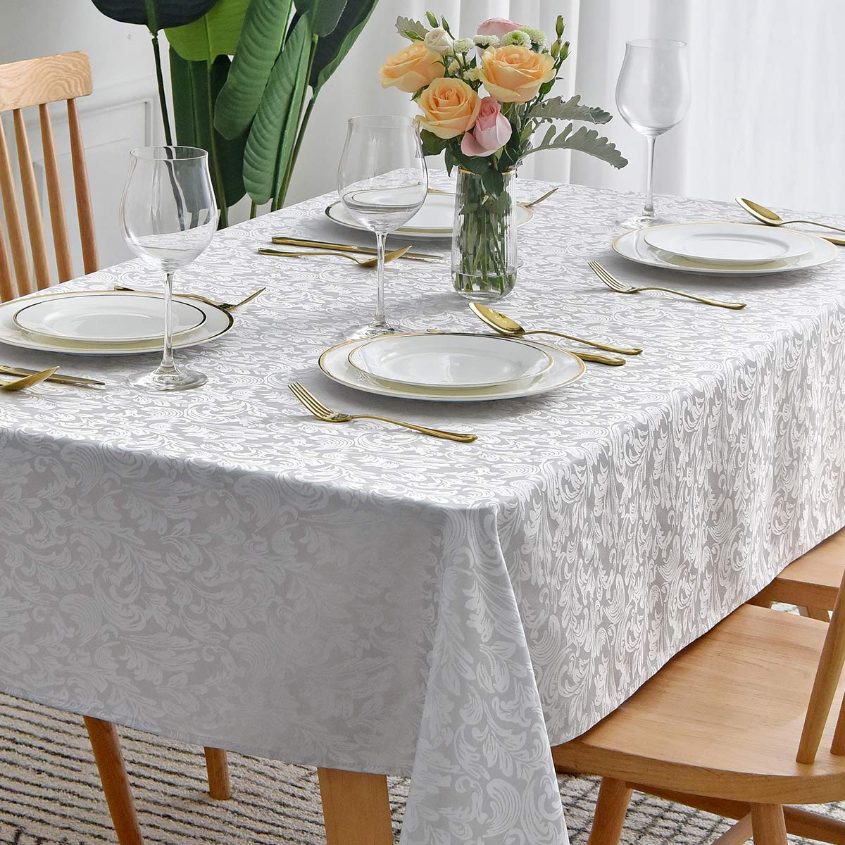 maxmill Square Table Cloth Damask Pattern Spillproof Wrinkle Resistant Oil Proof Heavy Weight Soft Tablecloth for Kitchen Dinning Tabletop Outdoor Picnic Square 52 x 52 Inch Silver