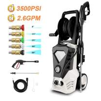 ROOJER 1800W Electric Pressure Washer High Pressure Power Washer Machine Car Washer with Power Hose Gun Turbo Wand 5 Interchangeable Nozzles Max 3500 PSI 1.98 GPM (US Stock) (Black White)