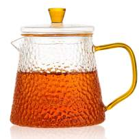 Glass Teapot with Removable Glass Infuser for Loose Leaf Tea, Matching Infuser Coaster and Gift Packaging, Microwave and Stovetop Safe, 450ml/15oz