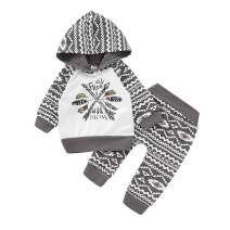 Toddler Baby Boys Girls Wild and Free Boho Print Long Sleeve Hoodie Tops and Pants 2pcs Outfit Set