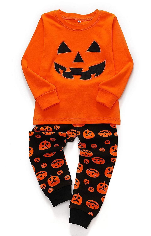 Boys Halloween Pajamas Pjs Glow-in-The-Dark Cotton Long Sleeve Pumpkin Sleepwear Toddler 2 Piece Clothes Set Size 2-7T