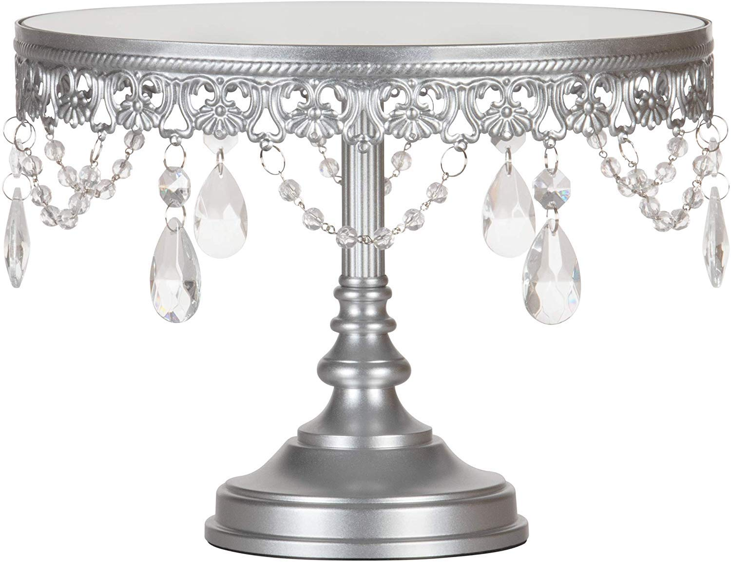 Amalfi Decor 10 Inch Cake Stand, Dessert Cupcake Pastry Candy Display Plate for Wedding Event Birthday Party, Round Metal Pedestal Holder with Crystals, Silver