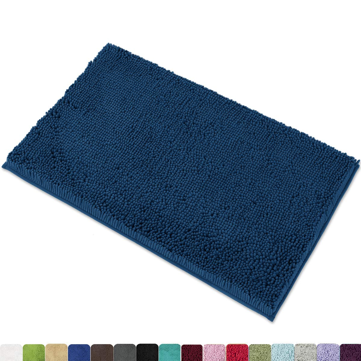 "MAYSHINE Chenille Bath Mat for Bathroom Rugs 32"" x20"", Extra Soft and Absorbent Microfiber Shag Rug, Machine Wash Dry- Perfect Plush Carpet Mats for Tub, Shower, and Room- Dark Blue"