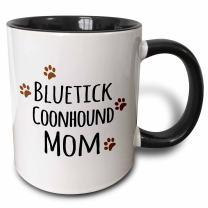3dRose Bluetick Coonhound Dog Mom Mug, 11 oz, Black