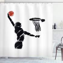 "Ambesonne Youth Shower Curtain, Freehand Drawing Style Basketball Player Jumping Athlete Training Artwork, Cloth Fabric Bathroom Decor Set with Hooks, 70"" Long, Cinnamon White"