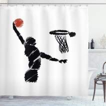 """Ambesonne Youth Shower Curtain, Freehand Drawing Style Basketball Player Jumping Athlete Training Artwork, Cloth Fabric Bathroom Decor Set with Hooks, 70"""" Long, Cinnamon White"""