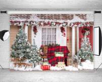 Qian Christmas Tree and Outdoor Snow Landscape Theme Backdrops Poly Fabric Photo Backdrops Holiday Party Decor Studio Props Booth Vinyl 7X5ft