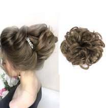 Fake Curly Messy Hair Scrunchies Bun Extensions Elastic Synthetic Hairpiece Hair Piece Brown Scrunchy Curl Wrap Ponytail Tail Updo Accessories H2&10
