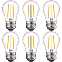 Luxrite 4W Vintage A15 LED Bulb Dimmable, 400 Lumens, 2700K Warm White, E26 LED Edison Bulb 40W Equivalent, Clear Glass Filament Light Bulbs, Damp Rated, UL Listed (6 Pack)