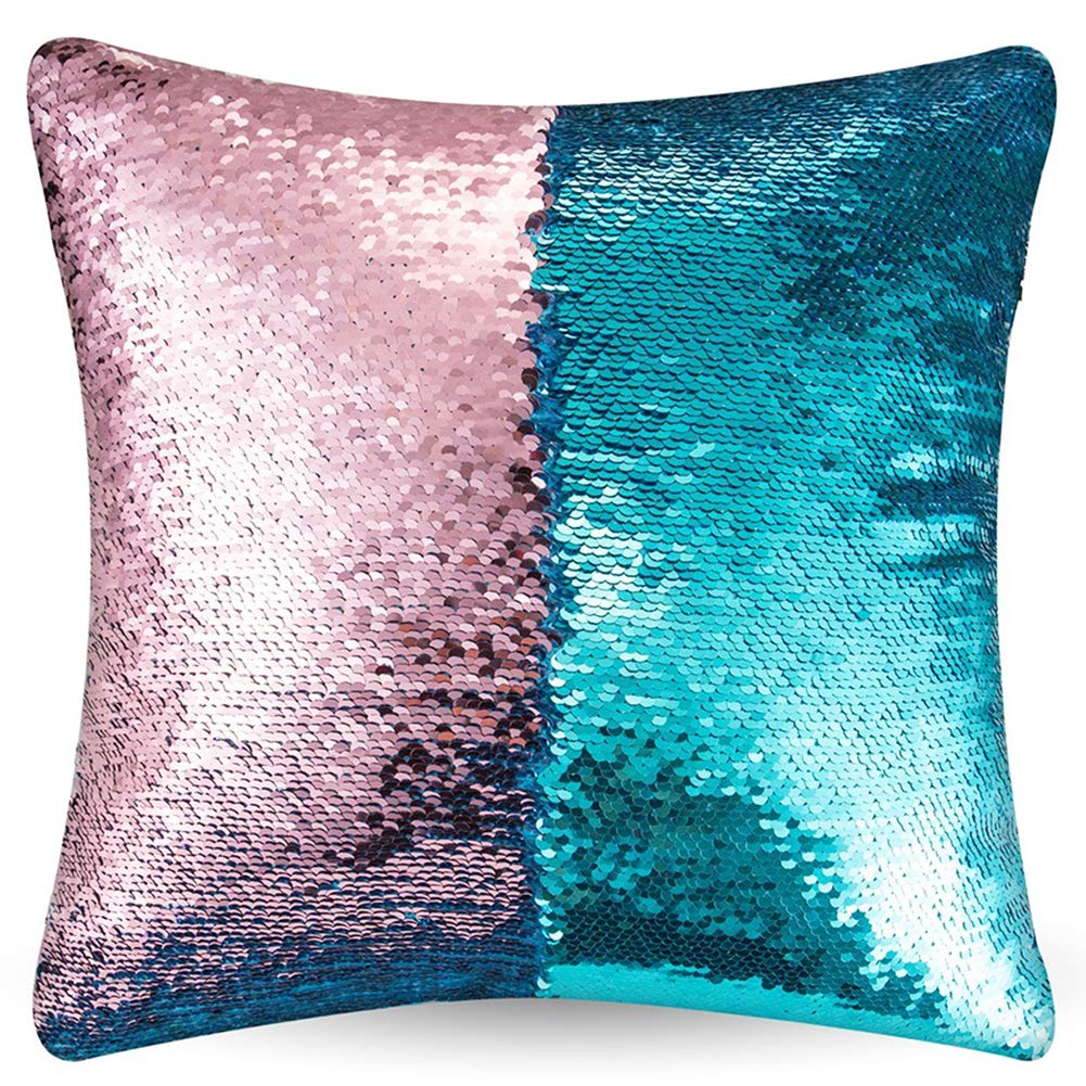 """URSKYTOUS Reversible Sequin Pillow Case Decorative Mermaid Pillow Cover Color Changing Cushion Throw Pillowcase 16"""" x 16"""",Turquoise and Pink"""