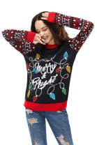Women's Ugly Christmas Sweater Funny Pullover Glitter Lights Funny Santa Reindeer Fair Isle