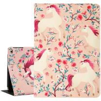Hi Space Unicorn iPad Air 9.7 Case, Flower iPad Case 9.7, Pink Folio Stand Smart Tablet Case Cover for iPad Air 1/2 5th/6th Gen 2017/2018 Auto Sleep Wakeup