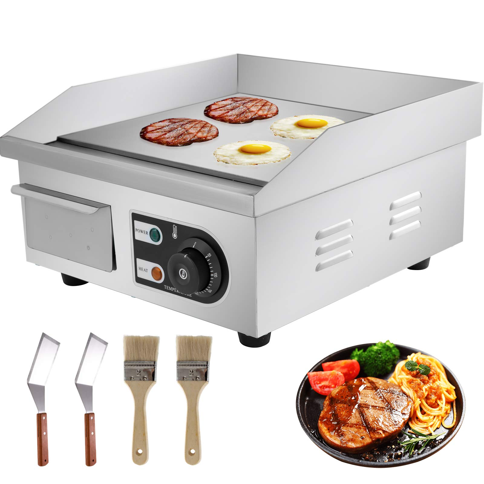 """VEVOR 14"""" Electric Countertop Flat Top Griddle 110V 1500W Non-Stick Commercial Restaurant Teppanyaki Grill Stainless Steel Adjustable Temperature Control 122°F-572°F, Sliver"""