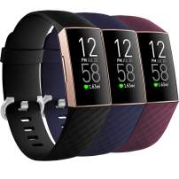 Getino 3 Pack Bands Compatible with Fitbit Charge 4 Bands/Fitbit Charge 3 Bands/Charge 3 SE, Soft, flexible and Waterproof TPU Sport Replacement Strap Wristbands for Women Men Large Black/Navy/Winered