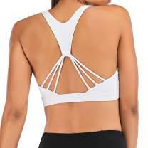 Aonour Women's Padded Strappy Sports Bra Cross Back Workout Yoga Bra Tops Athletic Bra