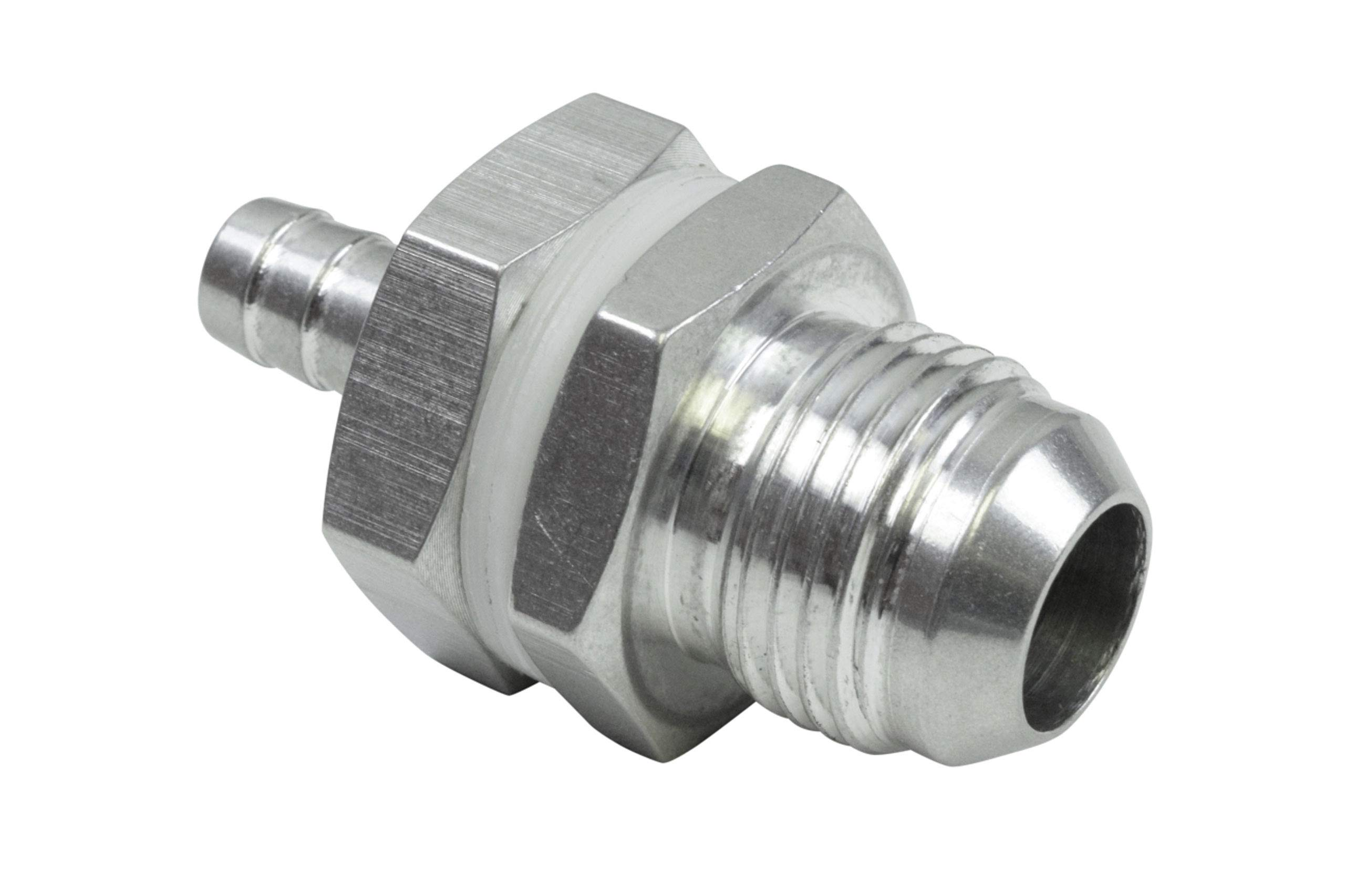 """ICT Billet -10AN Straight to 3/8"""" Hose Barb Double Fuel Pump Tank Fitting Bulkhead Adapter Fitting Hose Thread Fuel Oil Gas Coolant Connector Pipe End Plumbing Port Fluid Aluminum AN861-10-37A"""