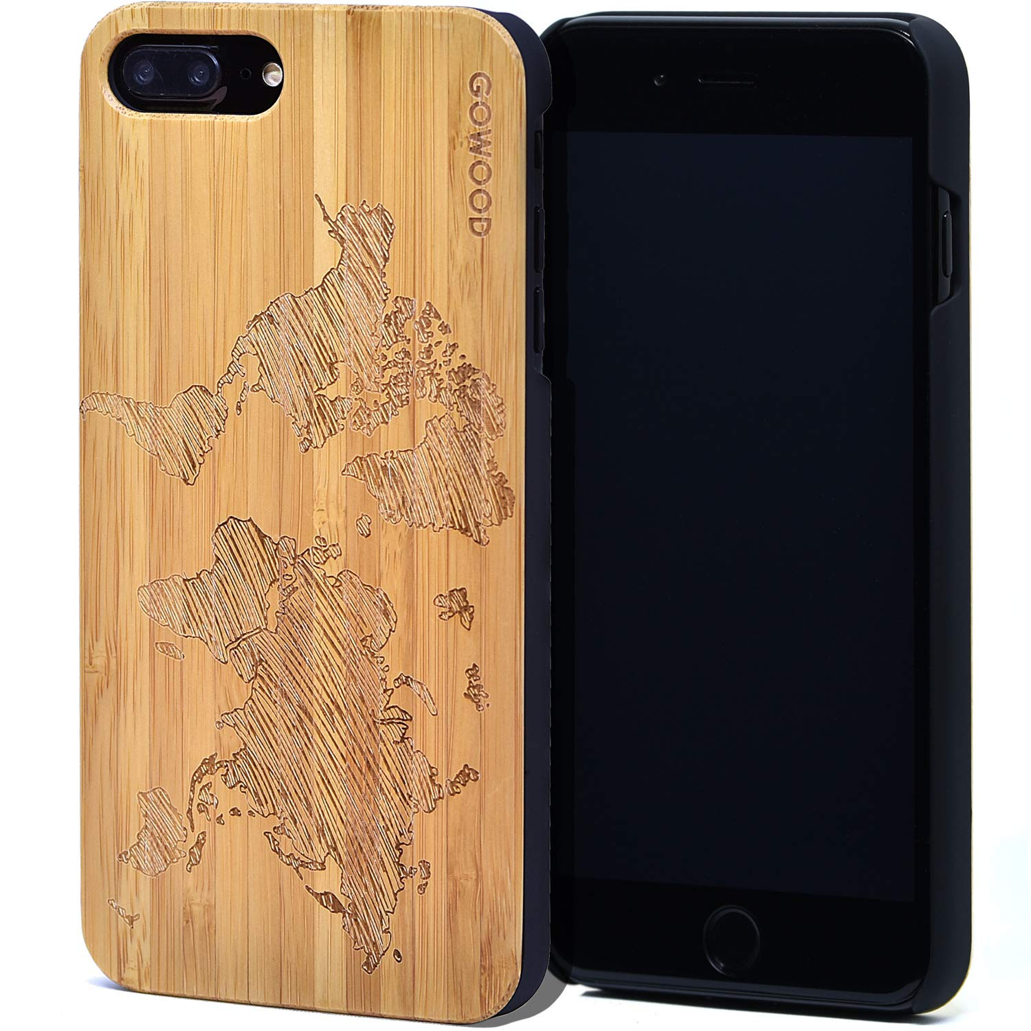 Wood Case for iPhone 7 Plus and 8 Plus   Real Natural Bamboo World Map Design Engraved on Backside and Durable Hard Polycarbonate Shockproof Bumper with Shock Absorbing Rubber Coating
