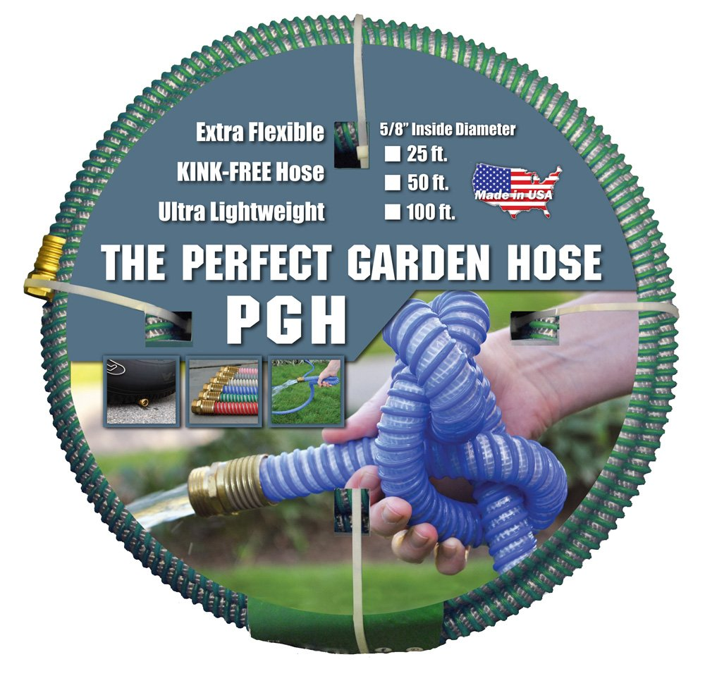 """Tuff-Guard Kink-Proof Garden Hose, Green, 5/8"""" Male and Female GHT Connection, 5/8"""" ID, 100' Length"""