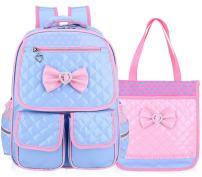 Gazigo Reflective Girls Cute School Backpack PU Leather Kids Bookbag Satchel (Blue Set)