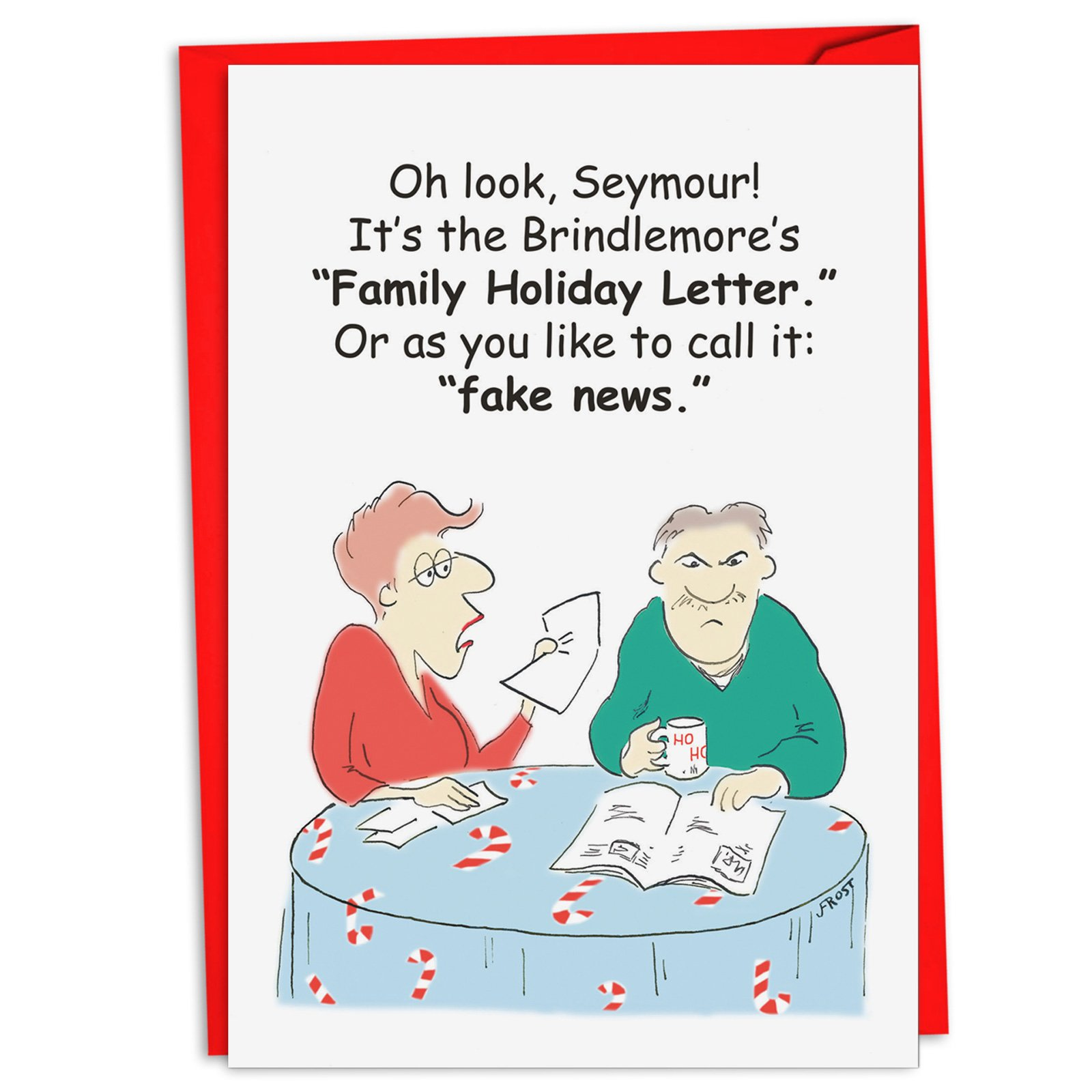 12 'Family Fake News' Hilarious Greeting Cards 4.63 x 6.75 inch, Merry Xmas Note Cards for Holidays, Gifts, Funny Family and Political Humor, Notecard Stationery w/Envelopes C4519XSG-B12
