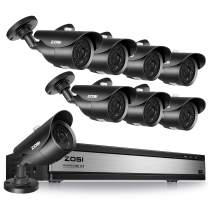 ZOSI 16Channel 1080P Surveillance Cameras System 16CH H.265+ 1080p Security DVR Recorder and 8pcs 1080P Weatherproof Bullet Cameras,120FT Night Vision, Motion Alert, Easy Remote Access(No HDD)