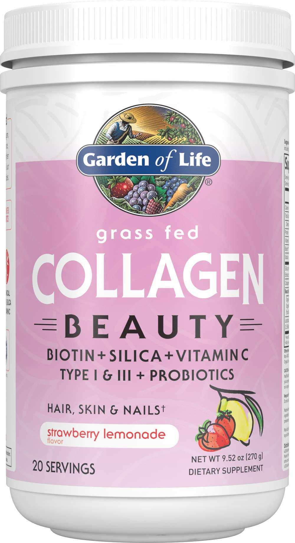 Garden of Life Grass Fed Collagen Beauty, Strawberry Lemonade, 20 Servings, Collagen Powder for Women Men Hair Skin Nails, Hydrolyzed Collagen Peptides Powder Protein Supplements *Packaging May Vary*