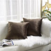 """FANCY QUEEN Velvet Throw Pillow Covers Supersoft Pillowcase Couch Cover Square Decor Toss Cushion Covers Solid for Home Sofa Bedding Chocolate 18"""" X 18"""" 45cm X45cm Pack of 2"""