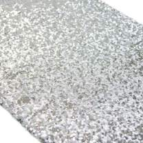 "TRLYC 10 Pieces Silver Table Runners 12""x120"" Silver Table Runners Wedding sequin Runners"