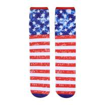 HAPPYPOP Mens Shark USA Flag Cool 3D Print Funny Colorful Crew Tube Socks