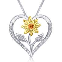 Klurent Sunflower Necklace Heart Pendant Necklace Jewelry You are My Sunshine Adjustable 18-20 Inches Blessings for Women Daughter Wife Mother on Birthday Anniversary