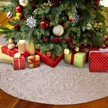 TRLYC 50-Inch Round Embroidery Sequin Christmas Tree Skirt -Sparkly Champagne
