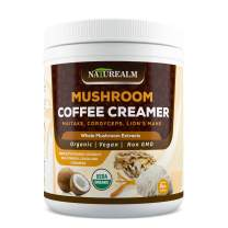 Naturealm Mushroom Coffee Creamer - Lion's Mane, Cordyceps, Maitake Extracts + Coconut Milk Powder, Cocoa, Cinnamon - USDA Certified Organic, Vegan, Sugar-Free, Gluten-Free, Keto-Friendly, 8oz.