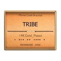 Morse Code Bracelet 14k Gold Plated Beads on Silk Cord Secret Message Tribe Bracelet Gift Jewelry for Her