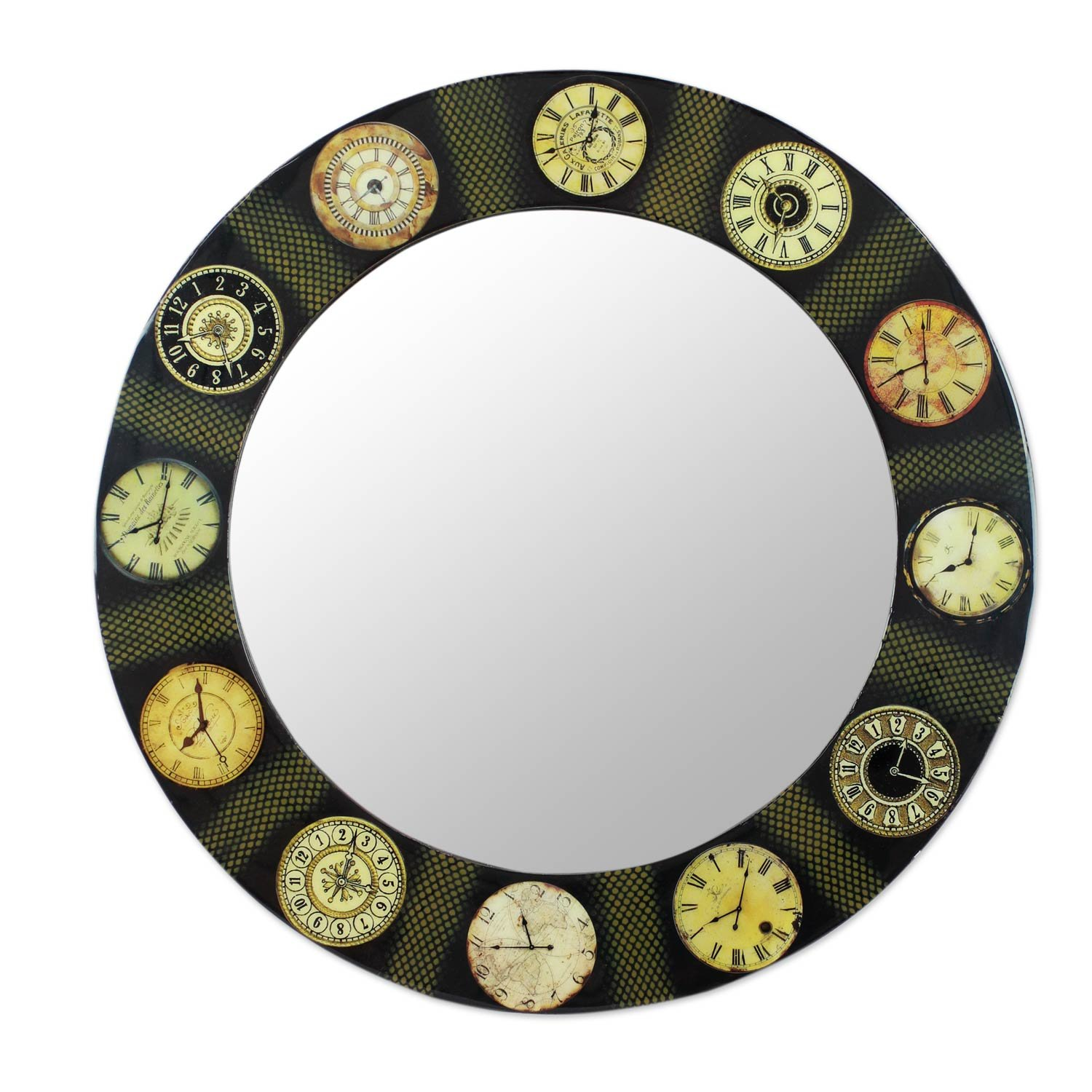 NOVICA The Faces of Time Decoupage Wall Mirror