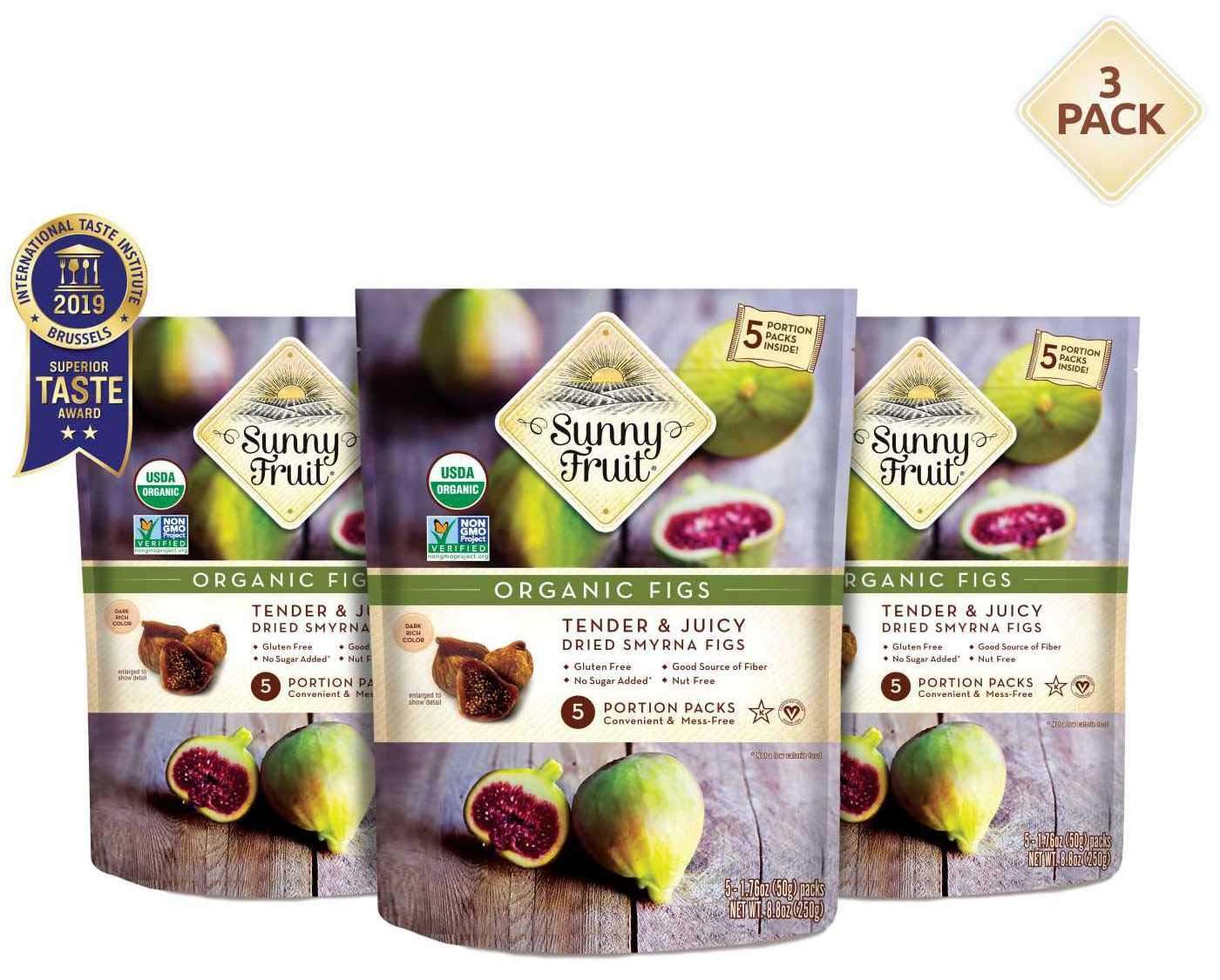ORGANIC Turkish Dried Figs - Sunny Fruit - (3 Bags) - (5) 1.76oz Portion Packs per Bag   Purely Figs - NO Added Sugars, Sulfurs or Preservatives   NON-GMO, VEGAN, HALAL & KOSHER