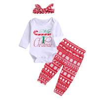Newborn Christmas Outfit for Baby Boy Girl Letter Romper Snowflake Pants Headband 3Pcs Clothes
