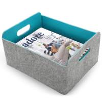 Endless Functions Felt Storage Basket for organizing Clothes Toys Books Magazine Cables containers and Makeup Holder Cloth bin Thats Collapsible When not in use Great for Home or Office (Turquoise)