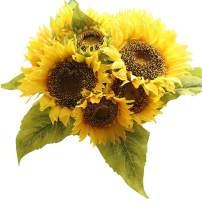 Bringsine Sunflowers Artificial Flowers Bouquet for Home Decoration Wedding Decor Real Touch Silk Bride Holding Floral Decors