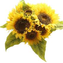 Bringsine Sunflowers Artificial Flowers Bouquet for Home Decoration Wedding Decor Real Touch Silk Bride Holding Floral Decors