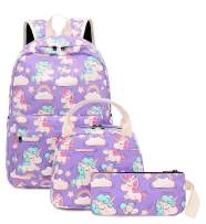 Backpack for School Girls Kids Bookbag Set Water Resistant School Bag with Insulated Lunch Bag (Purple)