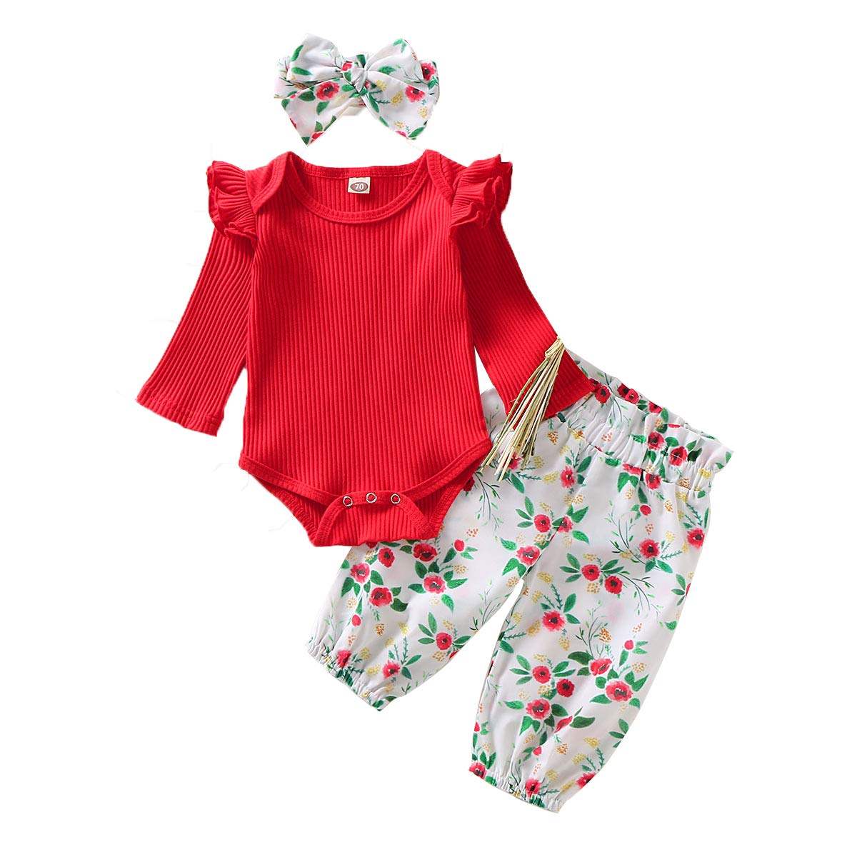 Infant Toddler Newborn Baby Girl Clothes Outfits Long Sleeve Floral Lace Ruffle Romper Pants Bowknot Headband Set
