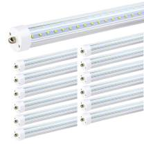 JESLED T8/T10/T12 8FT LED Tube Light, Single Pin FA8 Base, 50W 6000LM 5000K Daylight White, 270 Degree V Shaped LED Fluorescent Bulb (130W Replacement), Clear Cover, Dual-Ended Power (12-Pack)